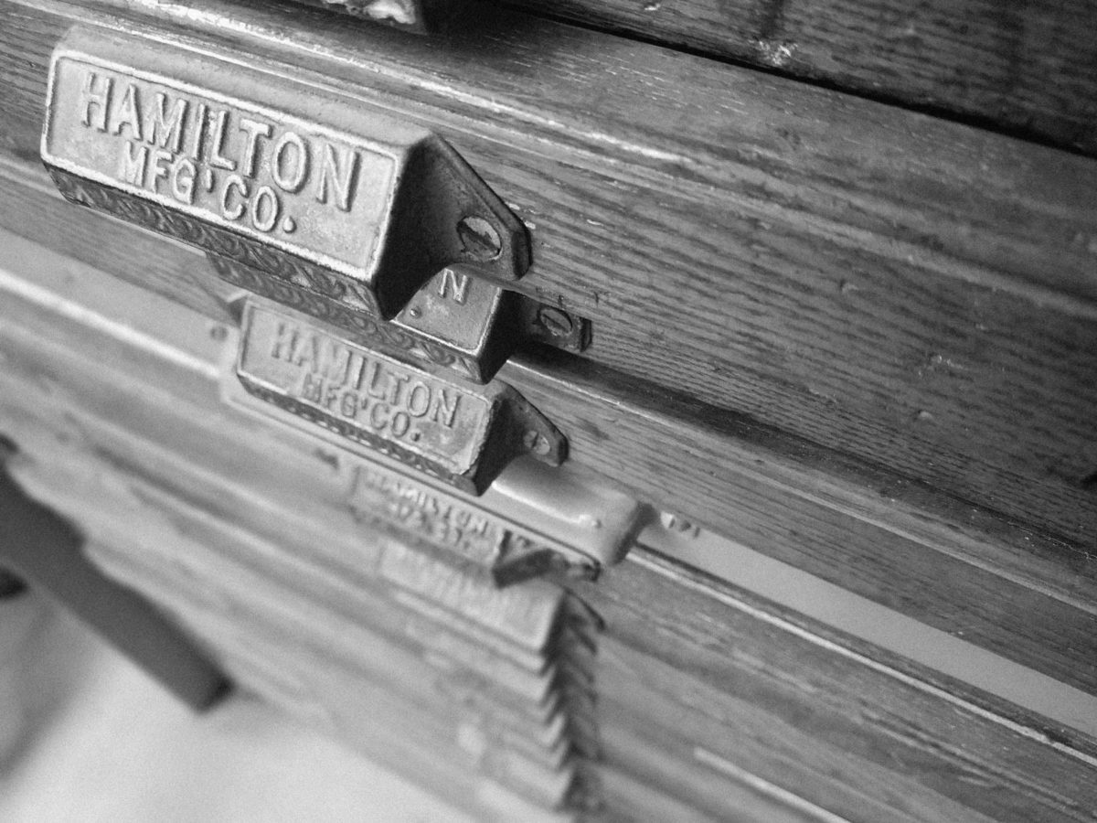 Antique Letterpress Drawer at Lakes Marketing and Print